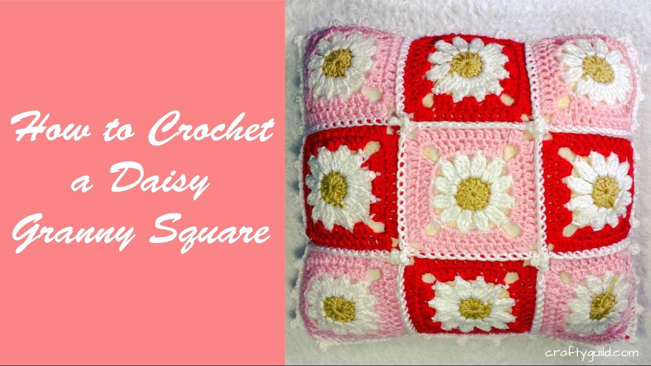 How to Crochet a Daisy Granny Square - YouTube
