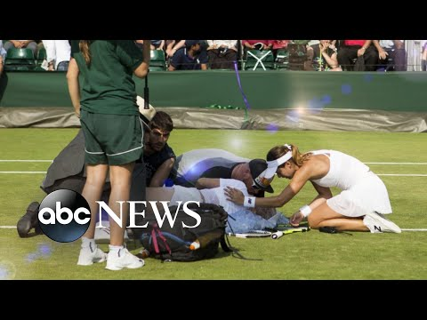Thumbnail: US tennis star collapses mid-match at Wimbledon