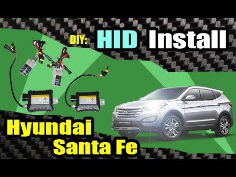 2013 hyundai santa fe hid headlight install youtube. Black Bedroom Furniture Sets. Home Design Ideas