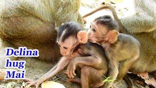 Delina hug Mai. #Monkey