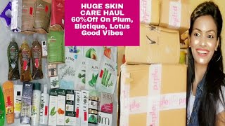 HUGE SKIN CARE HAUL /GET 65%OFF ON PLUM, BIOTIQUE, LOTUS, GOOD VIBES, ALPS GOODNESS |VIDEO IN HINDI