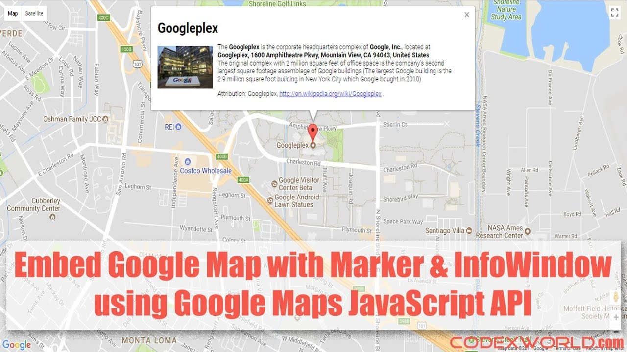 Google Map with Marker and Info Window using JavaScript - CodexWorld