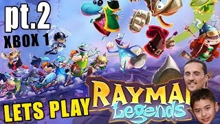 Let's Play Rayman Legends Pt 2: Toad Story Ray and the Beanstalk Dad & Ethan Xbox One Commentary