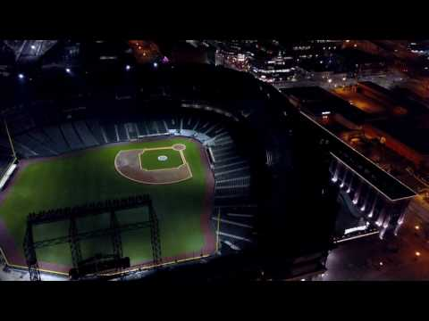 DJI Mavic Pro night time drone fly over Seattle's stadium district