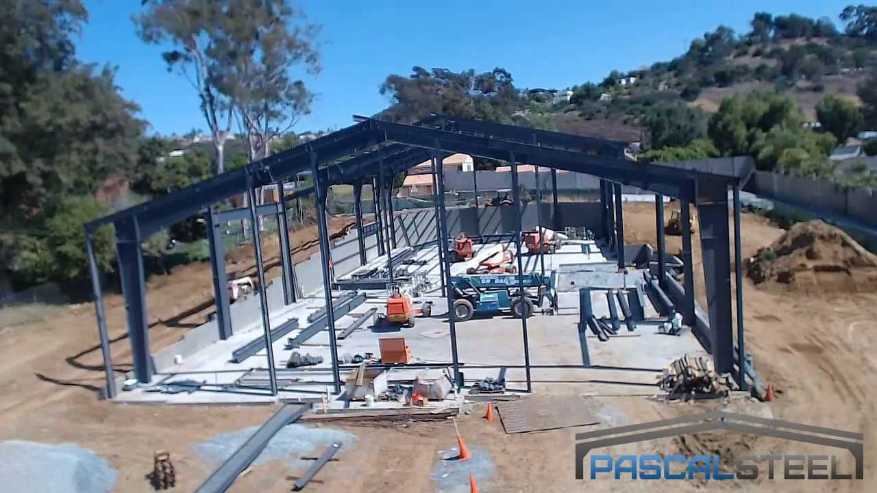 Time Lapse Of Steel Building Being Erected For Church In