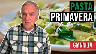 Pasta Primavera: Farfalle with spring vegetables, Italian-American recipe - Gianni