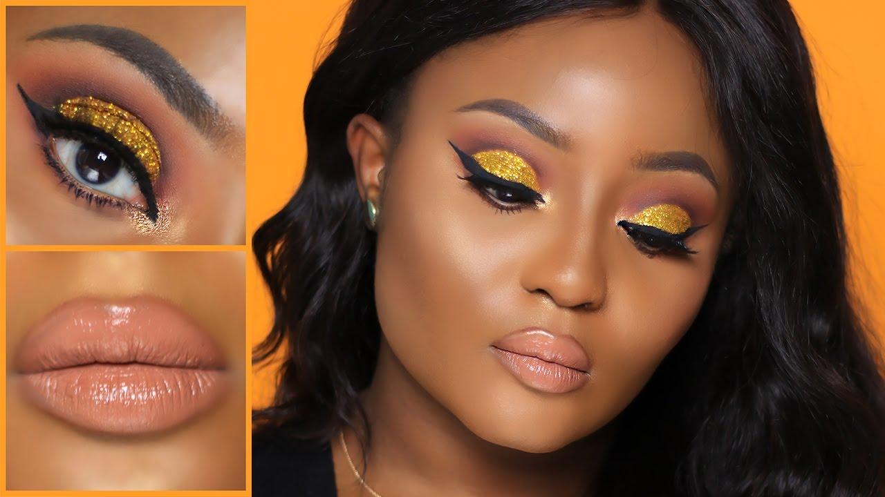 Gold Glitter Cut Crease  Nude Lip Makeup Tutorial -2706