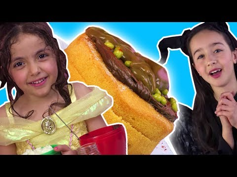 CHOCOLATE CAKE CHALLENGE | BELLE VS MALEFICENT | Surprise Eggs Prank | Princesses In Real Life