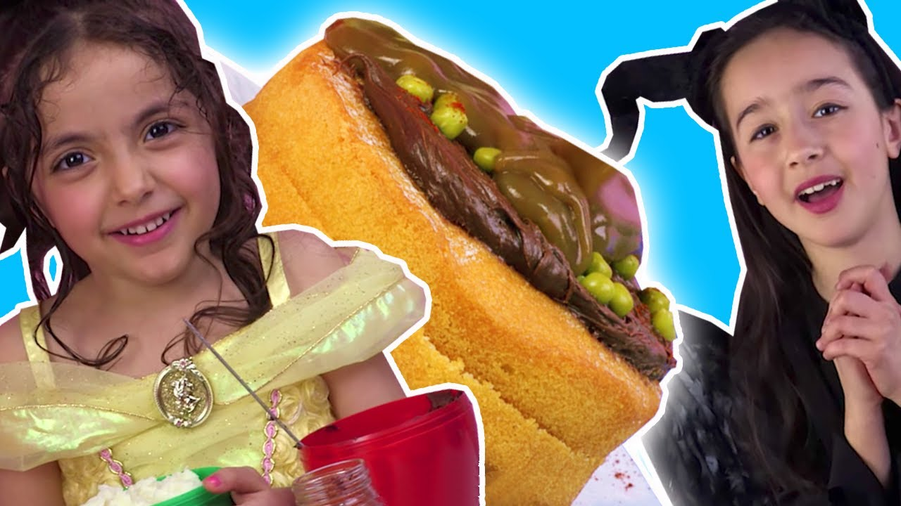 CHOCOLATE CAKE CHALLENGE   BELLE VS MALEFICENT   Surprise Eggs Prank   Princesses In Real Life