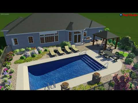 New Pool with Colorful Landscape - Newest Rendering