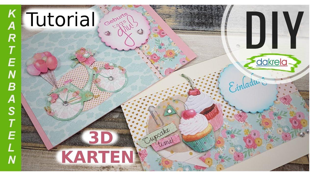 2 Karten | 3D Grußkarten + Einladung Designpapier basteln