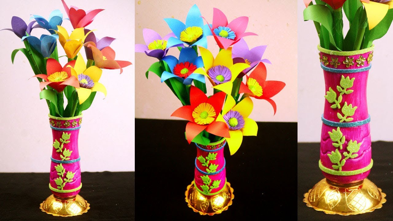 How to make paper flower & plastic bottle flower vase at ...