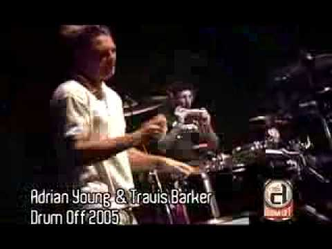 YouTube - TRAVIS BARKERand ADRIAN YOUNG AT GUITAR CENTER'S DRUM OFF '05