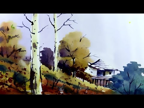Watercolor Painting Landscape Tutorial | House Painting | Nature Scenery Painting
