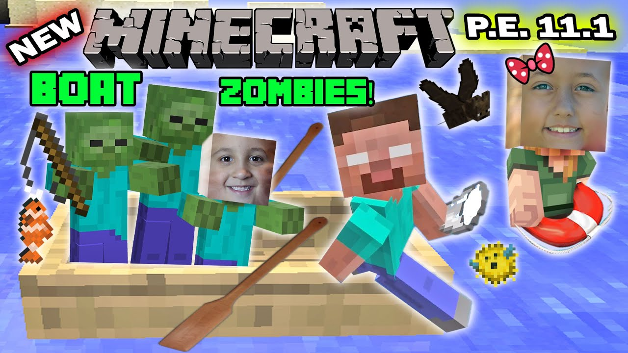 FGTEEV Kids Play MINECRAFT PE FISHING W BOAT ZOMBIES New Skins - Zombey skin fur minecraft pe