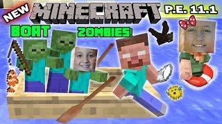 FGTEEV Kids play MINECRAFT PE: FISHING w/ BOAT ZOMBIES!  New Skins + More!! (11.1 Update! )