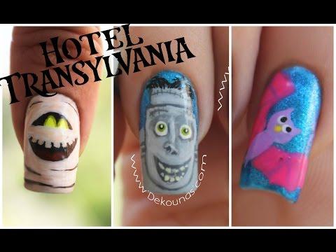 Decoración de uñas Halloween  Hotel Transylvania Frank, Murray y murcielago