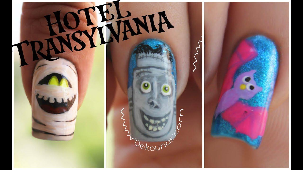 Decoración de uñas Halloween Hotel Transylvania Frank, Murray y murcielago 2016,07,30
