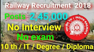 Latest Govt Jobs 2,45,000 posts | railway jobs recruitment 2018 | No exam | RRC rrb | Study Center