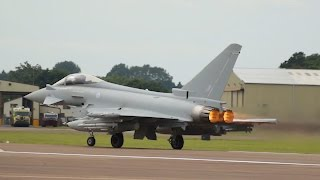 Fully Loaded Eurofighter EF-2000 Typhoon FGR4 Royal Air Force departure at RIAT 2016 AirShow