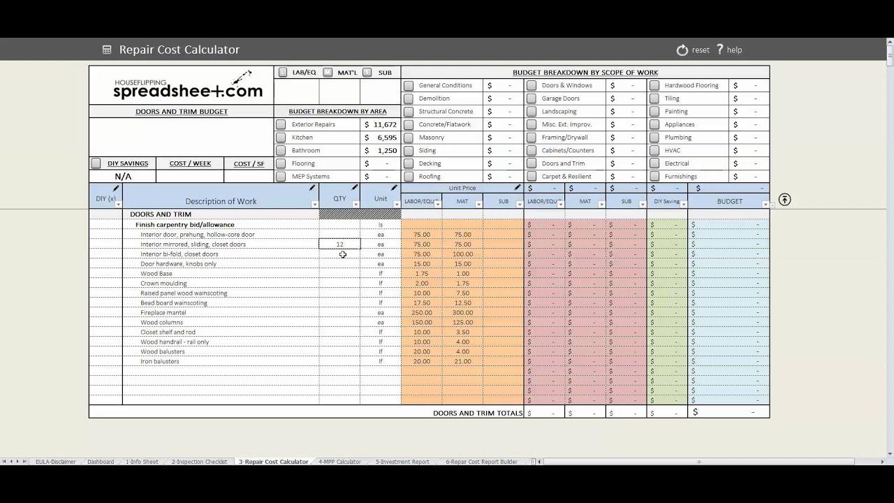 House Flipping Spreadsheet Speed Round - YouTube