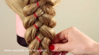 Коса из 5 прядей с лентой. Braid of five strands with ribbon