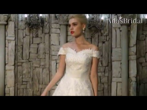 Off-the-shoulder A-line Wedding Dresses With Beaded Lace Appliques - Adasbridal (WWD21839)