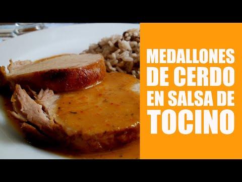 Medallones de cerdo en salsa de tocino