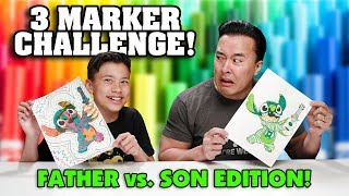 3 MARKER CHALLENGE!!! Father VS. Son Edition! Disney Characters!