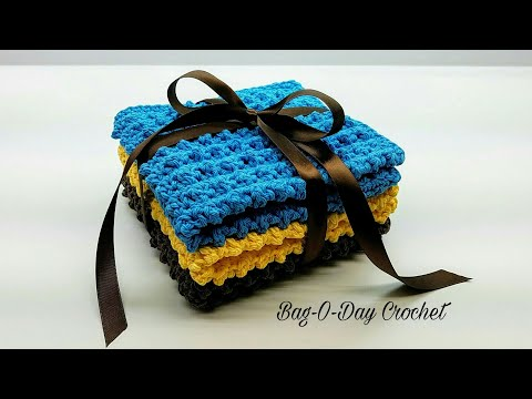 Learn How To Crochet Easy Cobblestone Washcloth Gift Set Crochet washcloth Tutorial #425