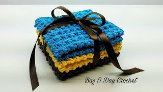 Learn How To Crochet Easy Cobblestone Washcloth Gift Set Crochet washcloth Tutorial #425 DYI