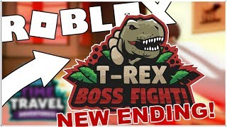 NEW T-REX BOSS BATTLE ENDING IN EXTINCTION IN TIME TRAVEL ADVENTURES (FULL WALKTHROUGH)! [ROBLOX]