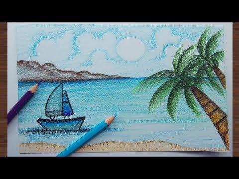 ภาพวาดวิวทะเลง่ายๆ (สีไม้)  How to draw a scenery of sea beach (easy draw)