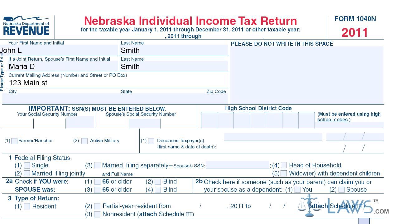 Form 1040N Nebraska Individual Income Tax Return - YouTube