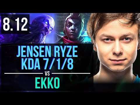 C9 Jensen - RYZE vs EKKO (MID) ~ KDA 7/1/8, Unstoppable ~ NA Challenger ~ Patch 8.12