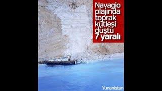 Yunanistan'ın Navagio plajında kayalar turistlerin üzerine düştü