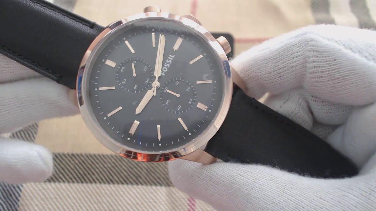 595f27b7e169b Men s Fossil Townsman Chronograph Leather Strap Watch FS5097 - YouTube