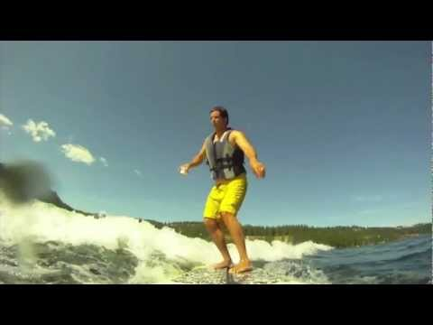SUP Wakesurfing in Coeur d' Alene, Idaho