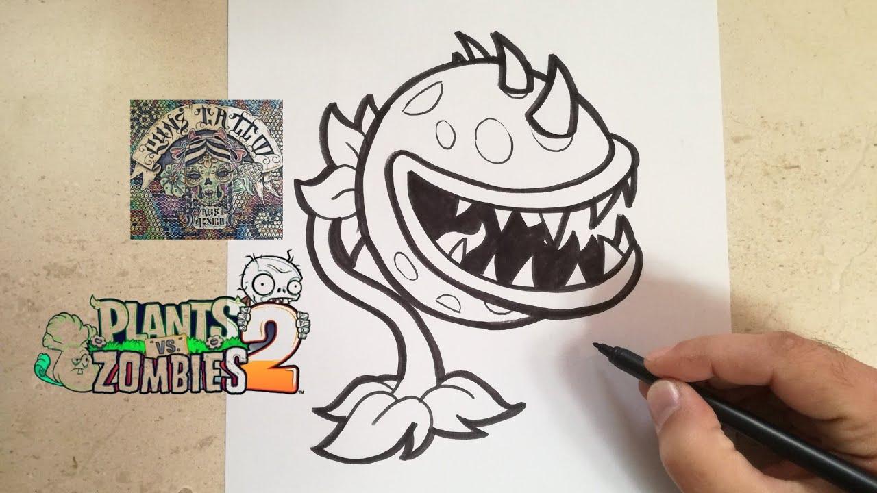 Como Dibujar La Planta Carnivora Plants Vs Zombies 2
