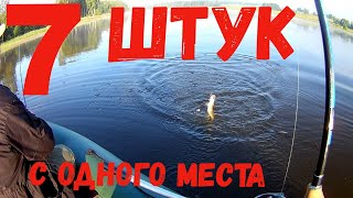 7 Щук С Одного Места Ловля щуки с лодки на плотине на вертушку