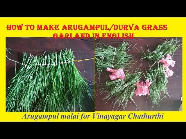 Arugampul garland for Vinayagar Chathurthi in english/ How to make arugampul malai in english