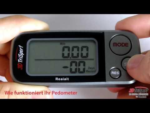 Betreiben des 3DTriSport Pedometers von Realalt - Deutsche