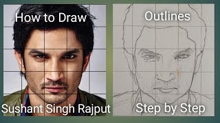 How to draw Sushant Singh Rajput-How to draw face outline using grid method for beginners- Very Easy