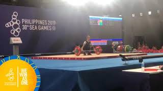 Mary Flor Diaz Of The Philippines, With An Impressive Set At The Women's Weightlifting 45 Kg Final