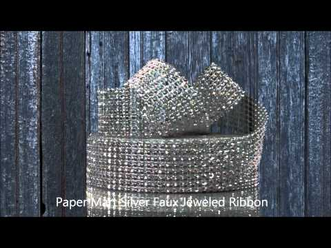 Silver Faux Jeweled Ribbon
