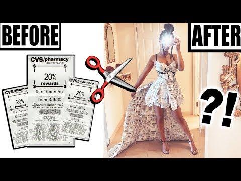 MAKING A DRESS OUT OF CVS RECEIPTS!