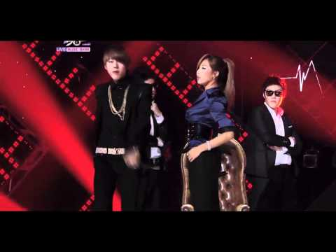 110812 HyunA ft. Block B's Zico - Just Follow @ 'Music Bank' [HD]
