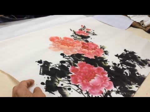 Zhu teaching to paint Peony painting in class painting