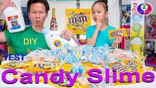 DIY GIANT CANDY SLIME FAIL- M&ampM Peanut, Tiger Pops, Jumbo Candy Balls  Khmer Candy Slime No Borax