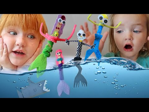 CRAFTS with ADLEY!!  how to make a MERMAID, Paint a Turkey Hand, and Snowflake Snow! Family DIY fun